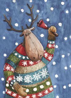 Почтовая открытка Рождественский лось